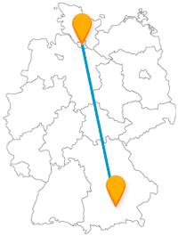Der Fernbus Hamburg München fährt regelmäßig und zuverlässig zwischen Nord und Süd Deutschlands.