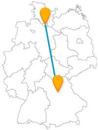 Als Nordlicht mit dem Fernbus Hamburg Nürnberg in eine bayrischer Großstadt reisen.