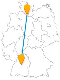 Mit dem Fernbus von Hamburg nach Stuttgart erleben Sie eine Fahrt von Deutschlands Tor zur Welt nach Deutschlands Süden.