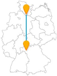 Nehmen Sie den Bus von Hamburg nach Würzburg