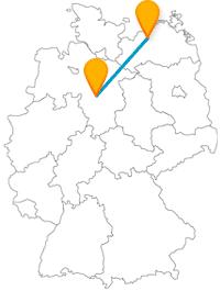 Verbinden Sie mit der Reise im Fernbus zwischen Hannover und Rostock städtisches und maritimes Flair mit ein wenig Waldluft.