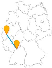 Der Fernbus von Heidelberg nach Köln bringt Sie fast an einen Hafen.