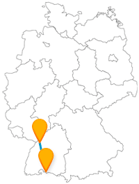 Verbinden Sie mit dem Fernbus zwischen Karlsruhe und Konstanz zwei beliebte Universitätsstädte.