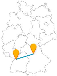 Die Reise im Fernbus von Karlsruhe nach Nürnberg bringt Sie von einem barocken Schlossmuseum zu ein Spielzeugmuseum.