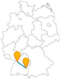 Verbinden Sie mit dem Fernbus zwischen Karlsruhe und Ulm ein junge und eine ältere Stadt.