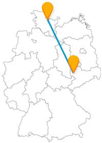 Die Reise mit dem Fernbus von Kiel nach Leipzig führt quer durch Deutschlands Osten.