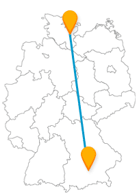 Machen Sie auf Ihrer Reise mit dem Fernbus zwischen Kiel und München auch mal eine Fahrradtour oder haben Ihren Spaß auf einem sehr großen Fest.