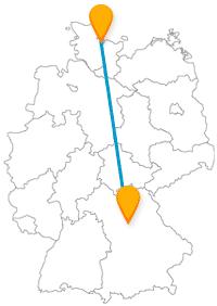 Die Reise mit dem Fernbus von Kiel nach Nürnberg führt Sie einmal quer durch Deutschland.