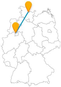 Die Reise mit dem Fernbus von Kiel nach Osnabrück bleibt in der nördlichen Landeshälfte Deutschlands.