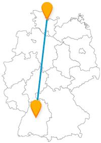 Schnuppern Sie auf der Reise mit dem Fernbus zwischen Kiel und Stuttgart Meeresluft und bewundern die Vielfalt in Flora und Fauna.