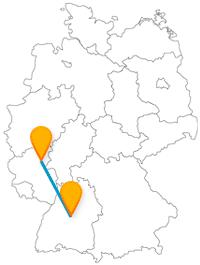 Auf der Reise mit dem Fernbus von Koblenz nach Stuttgart kann es per Seilbahn oder Turm hoch hinaus gehen.