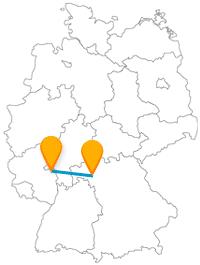 Nach Ankunft von der Fahrt mit dem Fernbus zwischen Mainz und Würzburg kann sich ein längerer Spaziergang anschließen.