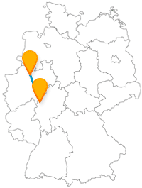 Nach der Fahrt im Fernbus zwischen Marburg und Münster können Sie jeweils einen abwechslungsreichen Spaziergang machen.