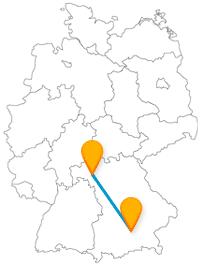 Eine Fahrt mit dem Fernbus von München nach Würzburg führt Sie zu zwei schönen Flüssen.
