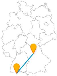 Reisen Sie mit dem Fernbus zwischen Nürnberg und Zürich, können Sie eine Historische Meile und 9000 Pflanzenarten entdecken.