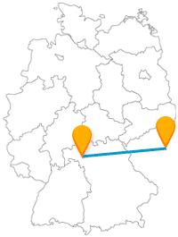 Die Reise mit dem Fernbus zwischen Prag und Würzburg hat einen Ring und eine Brücke zum Ziel.