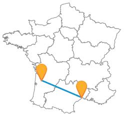 Tous les trajets en bus de Bordeaux à Montpellier