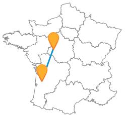 Trajets rapides en bus de Bordeaux à Tours