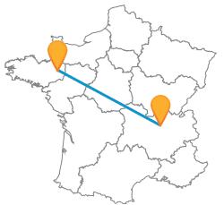 Comparez les voyages en bus de Lyon à Rennes