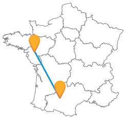 Partir en voyage en bus de Nantes à Toulouse