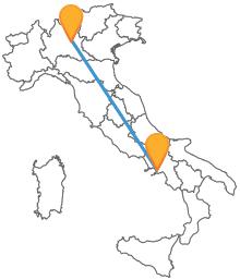 Viaggia attraverso l'Italia con un bus da Brescia a Napoli
