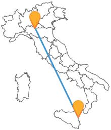 Un viaggio attraverso l'Italia vi aspetta con il pullman da Catania a Parma