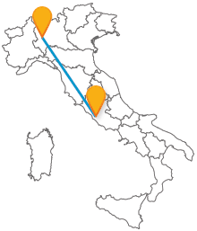 Acquistate un biglietto per l'autobus da Milano a Roma, le due cittä pi# importanti d'Italia